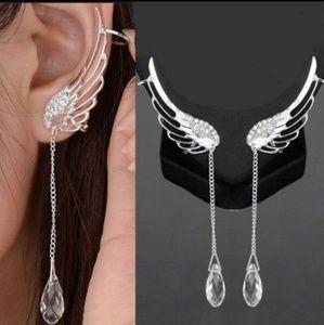 🍁 Feather Wing cuff Dangle earrings